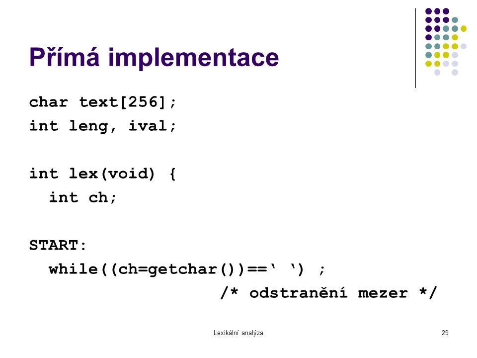 Přímá implementace char text[256]; int leng, ival; int lex(void) {